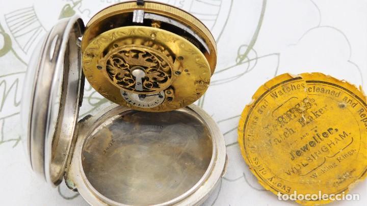 Relojes de bolsillo: MUY RARO-IMPRESIONANTE RELOJ DE BOLSILLO CON CALENDARIO-DE PLATA-CATALINO-SIGLO XVIII-FUNCIONANDO - Foto 7 - 194629906