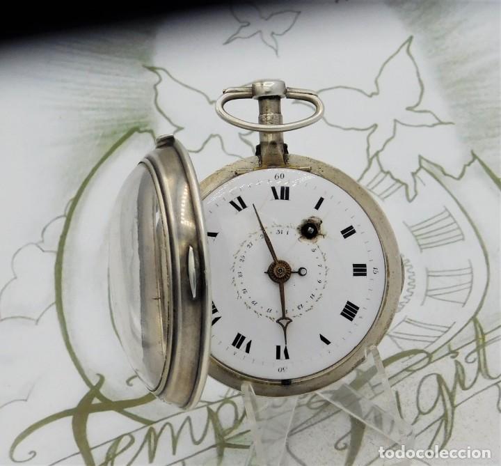 Relojes de bolsillo: MUY RARO-IMPRESIONANTE RELOJ DE BOLSILLO CON CALENDARIO-DE PLATA-CATALINO-SIGLO XVIII-FUNCIONANDO - Foto 8 - 194629906