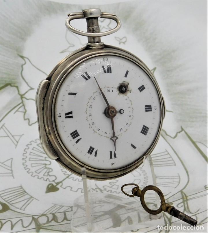 Relojes de bolsillo: MUY RARO-IMPRESIONANTE RELOJ DE BOLSILLO CON CALENDARIO-DE PLATA-CATALINO-SIGLO XVIII-FUNCIONANDO - Foto 13 - 194629906