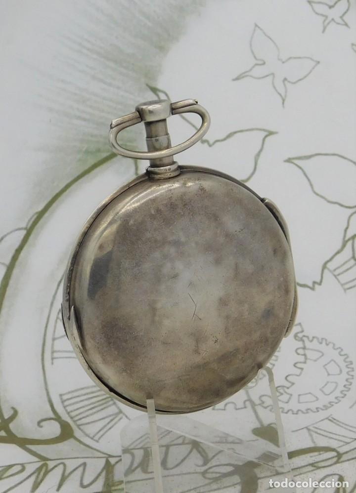 Relojes de bolsillo: MUY RARO-IMPRESIONANTE RELOJ DE BOLSILLO CON CALENDARIO-DE PLATA-CATALINO-SIGLO XVIII-FUNCIONANDO - Foto 9 - 194629906