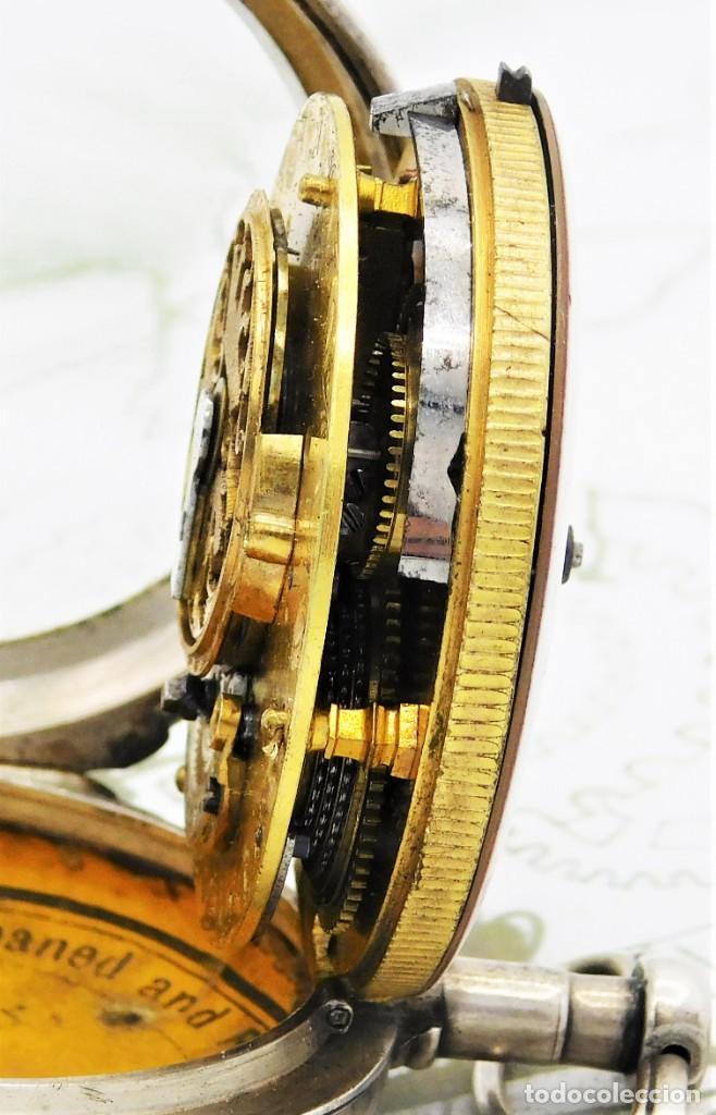 Relojes de bolsillo: MUY RARO-IMPRESIONANTE RELOJ DE BOLSILLO CON CALENDARIO-DE PLATA-CATALINO-SIGLO XVIII-FUNCIONANDO - Foto 15 - 194629906
