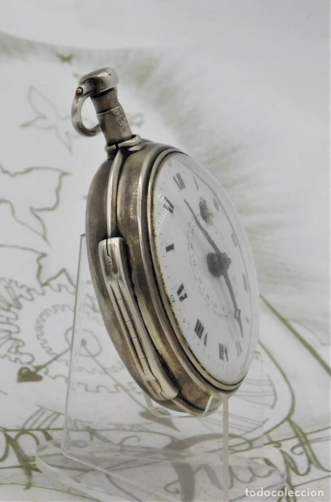 Relojes de bolsillo: MUY RARO-IMPRESIONANTE RELOJ DE BOLSILLO CON CALENDARIO-DE PLATA-CATALINO-SIGLO XVIII-FUNCIONANDO - Foto 18 - 194629906