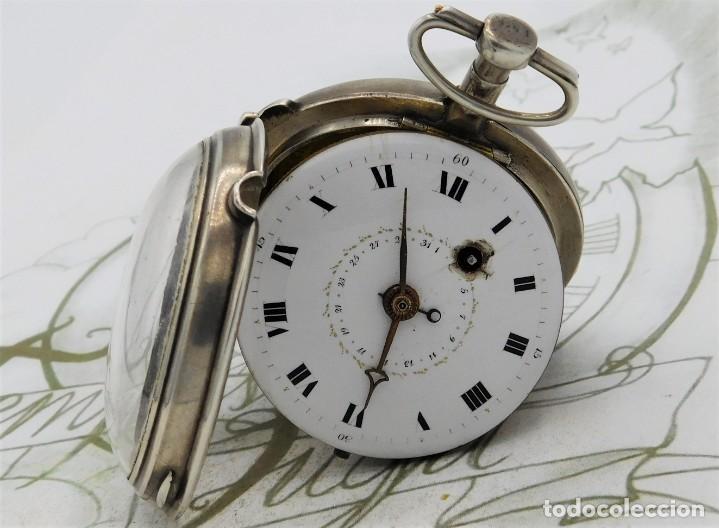Relojes de bolsillo: MUY RARO-IMPRESIONANTE RELOJ DE BOLSILLO CON CALENDARIO-DE PLATA-CATALINO-SIGLO XVIII-FUNCIONANDO - Foto 20 - 194629906