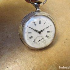 Relojes de bolsillo: ANTIGUO RELOJ DE CUERDA DE BOLSILLO DE PLATA. Lote 194736117