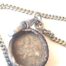 Relojes de bolsillo: LEONTINA CADENA RELICARIO SANTORAL RELOJ DE BOLSILLO, SANTORAL DE PLATA. MED 33 CM. Lote 194747995