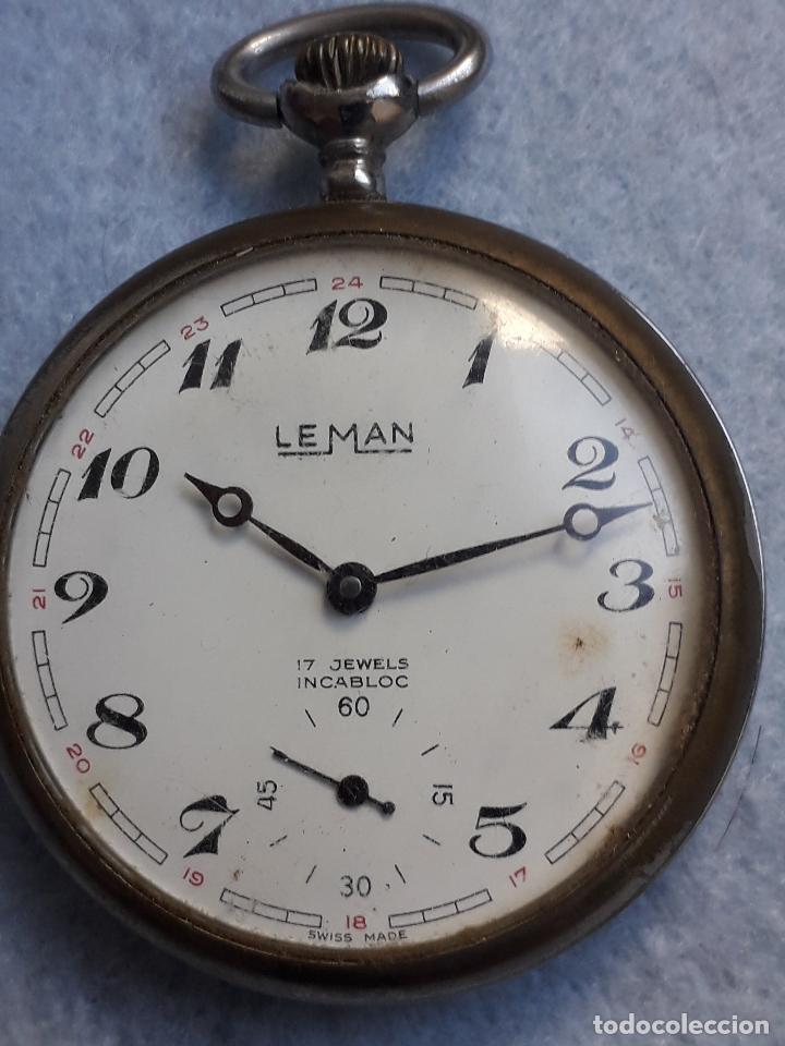 Relojes de bolsillo: Reloj de bolsillo antiguo marca Leman. Swiss made. - Foto 6 - 194878698