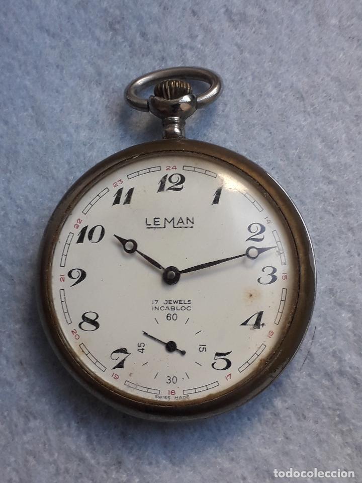 RELOJ DE BOLSILLO ANTIGUO MARCA LEMAN. SWISS MADE. (Relojes - Bolsillo Carga Manual)