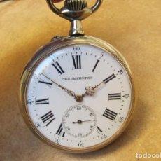 Relojes de bolsillo: ANTIGUO RELOJ GOLIAT DE CUERDA DE BOLSILLO DE PLATA ARGENTAN. Lote 194894553