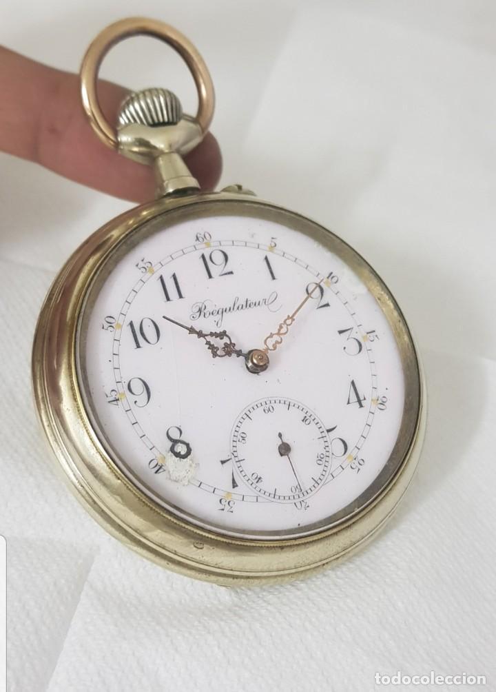 RELOJ ANTIGUO DE BOLSILLO GOLIAT MIDE 6.8CM BAÑADO EN PLATA BUEN ESTADO FUNCIONA ALTA COLECCIÓN (Relojes - Bolsillo Carga Manual)