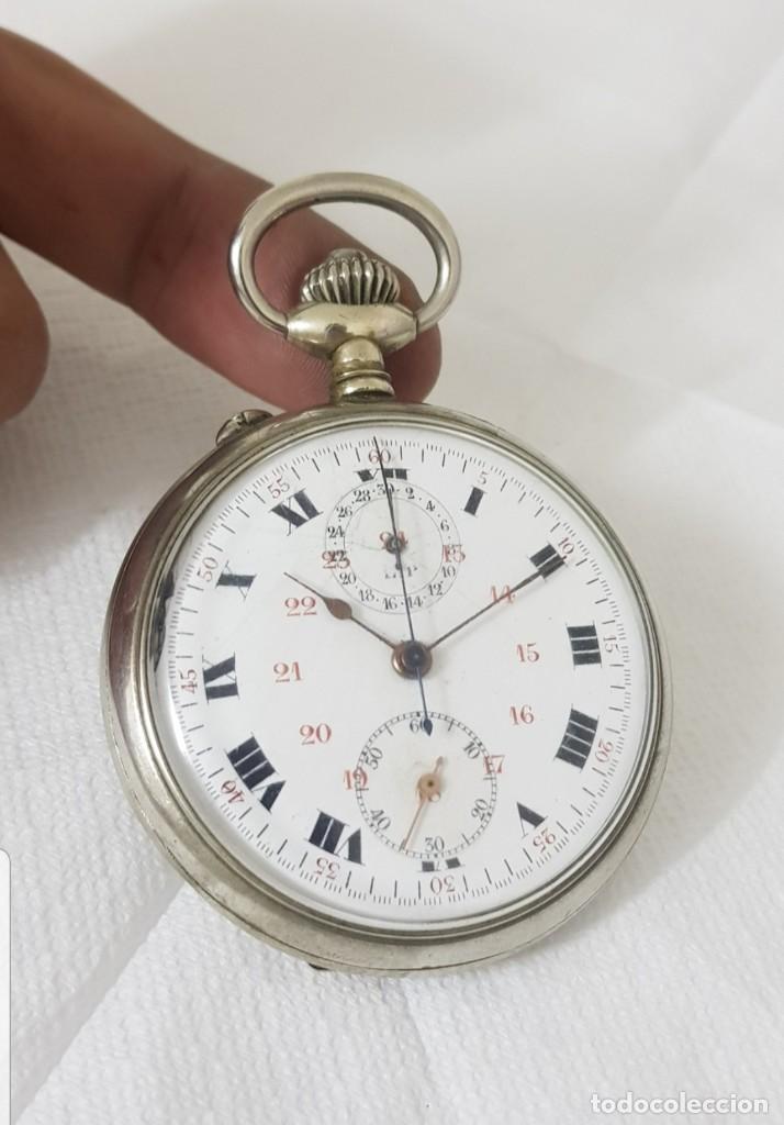RELOJ ANTIGUO DE BOLSILLO CON CRONOGRAFO BAÑO DE PLATA BUEN ESTADO FUNCIONA TODO ALTA COLECCIÓN (Relojes - Bolsillo Carga Manual)