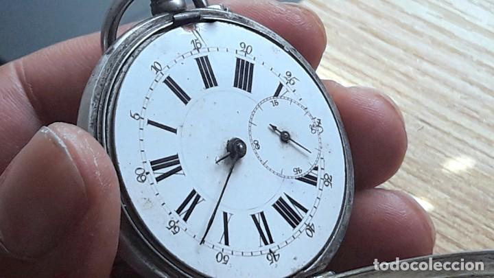 Relojes de bolsillo: RELOJ DE PLATA TRES TAPAS,52 MM,5 RUBIS,REMONTOIR GENEVE.necesita engrasar y limpiar no funciona - Foto 3 - 194931231