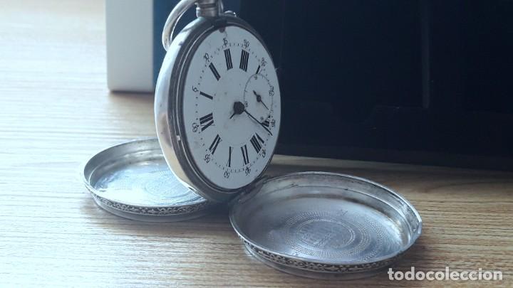 Relojes de bolsillo: RELOJ DE PLATA TRES TAPAS,52 MM,5 RUBIS,REMONTOIR GENEVE.necesita engrasar y limpiar no funciona - Foto 4 - 194931231