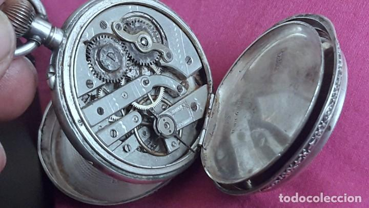 Relojes de bolsillo: RELOJ DE PLATA TRES TAPAS,52 MM,5 RUBIS,REMONTOIR GENEVE.necesita engrasar y limpiar no funciona - Foto 6 - 194931231