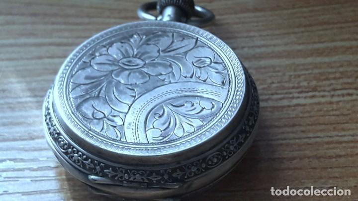 Relojes de bolsillo: RELOJ DE PLATA TRES TAPAS,52 MM,5 RUBIS,REMONTOIR GENEVE.necesita engrasar y limpiar no funciona - Foto 8 - 194931231
