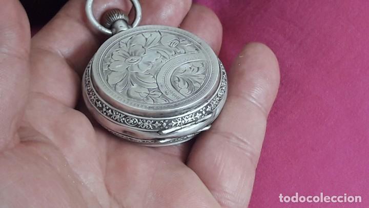Relojes de bolsillo: RELOJ DE PLATA TRES TAPAS,52 MM,5 RUBIS,REMONTOIR GENEVE.necesita engrasar y limpiar no funciona - Foto 10 - 194931231