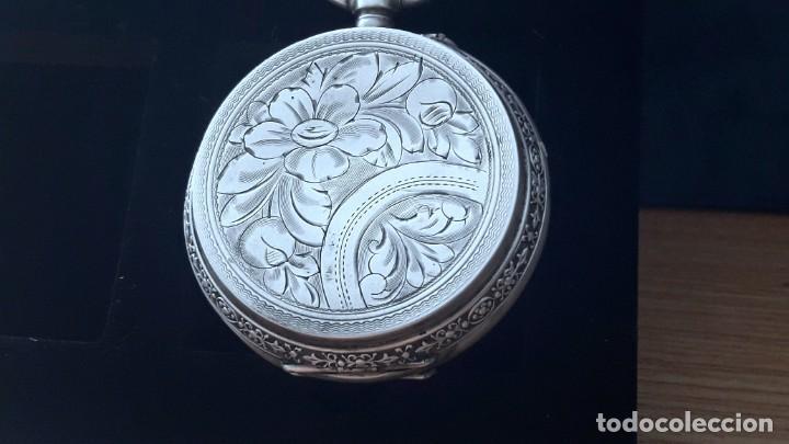 Relojes de bolsillo: RELOJ DE PLATA TRES TAPAS,52 MM,5 RUBIS,REMONTOIR GENEVE.necesita engrasar y limpiar no funciona - Foto 12 - 194931231