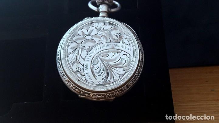 Relojes de bolsillo: RELOJ DE PLATA TRES TAPAS,52 MM,5 RUBIS,REMONTOIR GENEVE.necesita engrasar y limpiar no funciona - Foto 13 - 194931231