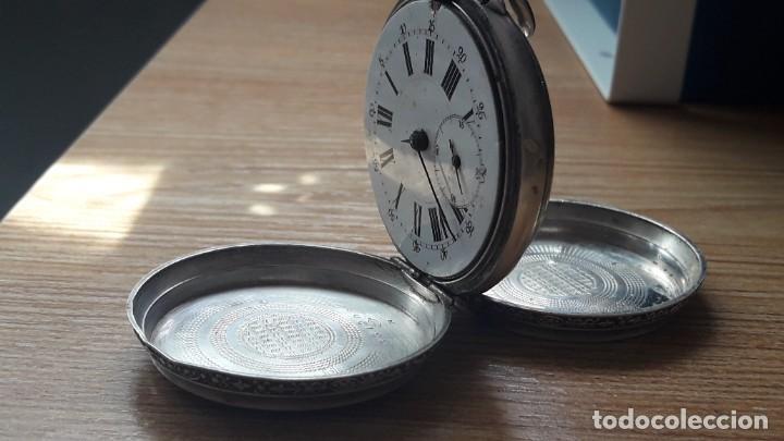 Relojes de bolsillo: RELOJ DE PLATA TRES TAPAS,52 MM,5 RUBIS,REMONTOIR GENEVE.necesita engrasar y limpiar no funciona - Foto 14 - 194931231