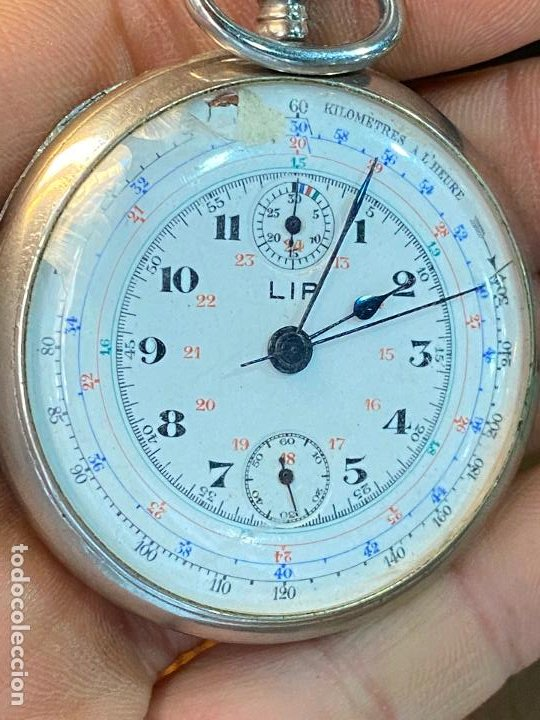 Relojes de bolsillo: Antiguo cronografo o cronometro tacometro LIP - PRincipios de siglo XX - Foto 4 - 195051130