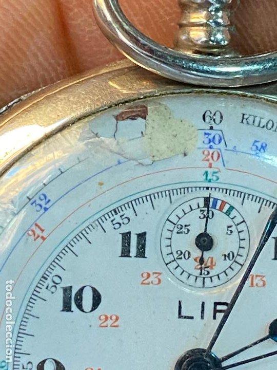 Relojes de bolsillo: Antiguo cronografo o cronometro tacometro LIP - PRincipios de siglo XX - Foto 5 - 195051130