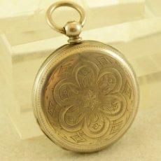 Relojes de bolsillo: RELOJ DE PLATA DE LLAVES 3 TAPAS LABRADAS CARLOS CHESIO Y CORTEZ CADIZ RELOJERO ESPAÑOL. Lote 195109285