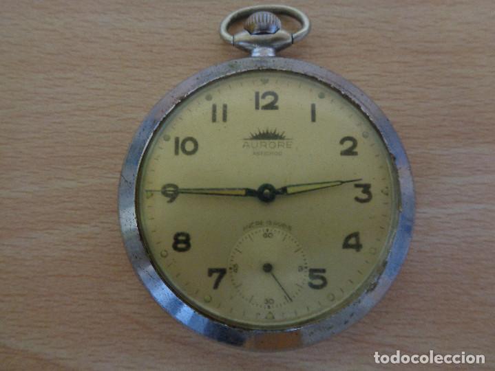 ANTIGUO RELOJ DE BOLSILLO AURORE ANTICHOC - FUNCIONANDO (Relojes - Bolsillo Carga Manual)