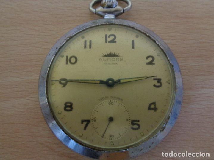 Relojes de bolsillo: Antiguo Reloj de Bolsillo Aurore Antichoc - Funcionando - Foto 2 - 195134007