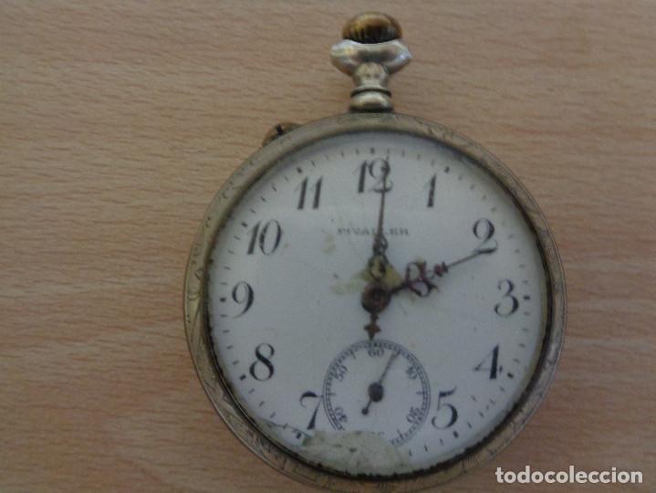 ANTIGUO RELOJ DE BOLSILLO FIVALLER - ESFERA ESMALTADA - PARTE TRASERA GRABADA - FUNCIONANDO (Relojes - Bolsillo Carga Manual)