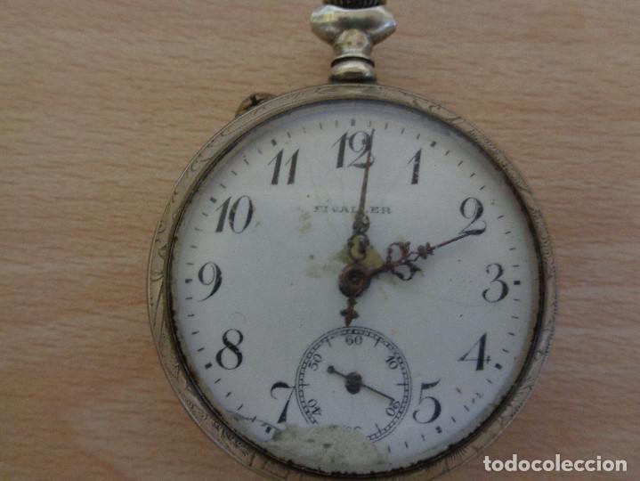 Relojes de bolsillo: Antiguo Reloj de Bolsillo Fivaller - Esfera Esmaltada - Parte Trasera Grabada - Funcionando - Foto 2 - 195134606