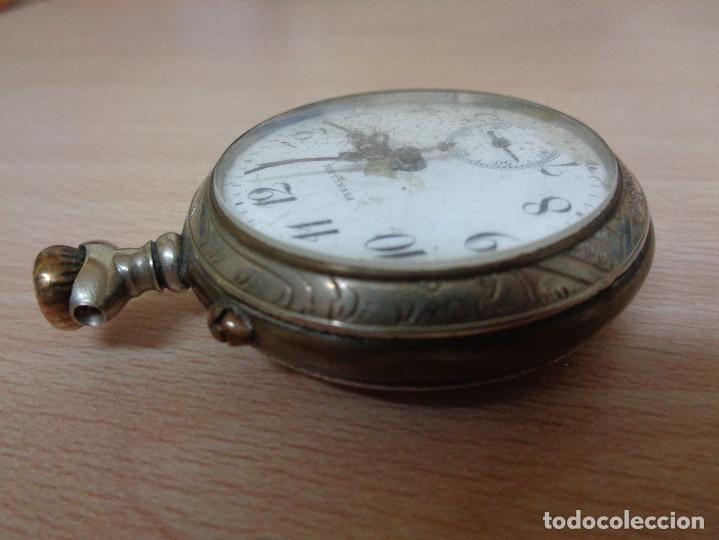 Relojes de bolsillo: Antiguo Reloj de Bolsillo Fivaller - Esfera Esmaltada - Parte Trasera Grabada - Funcionando - Foto 4 - 195134606