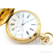 Relojes de bolsillo: RELOJ SUIZO DE BOLSILLO, SABONETA Y REMONTOIR. SIGLO XIX. ORO 18K.. Lote 195161680