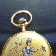 Relojes de bolsillo: RELOJ BOLSILLO SABONETA ORO 18 KT CONTRASTADO ESMALTES Y BRILLANTITOS. Lote 195188257