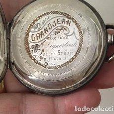 Relojes de bolsillo: RELOJ BOLSILLO GRAN JEAN-GENEVE, PLATA 800, 3 TAPAS, 15 RUBIS, CARGA MANUAL. Lote 195228542
