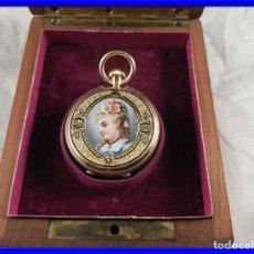 Relojes de bolsillo: PRECIOSO RELOJ DE BOLSILLO DE ORO Y ESMALTE CON ESTUCHE ORIGINAL. Lote 195302041