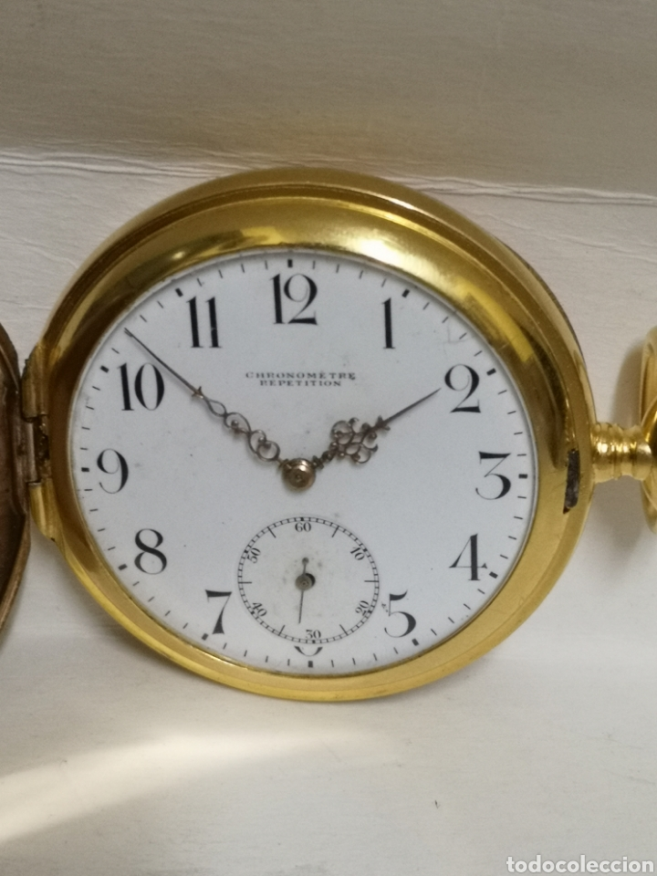 Relojes de bolsillo: Antiguo reloj de soneria chronometer repetición de 1898/1900 - Foto 10 - 195347137