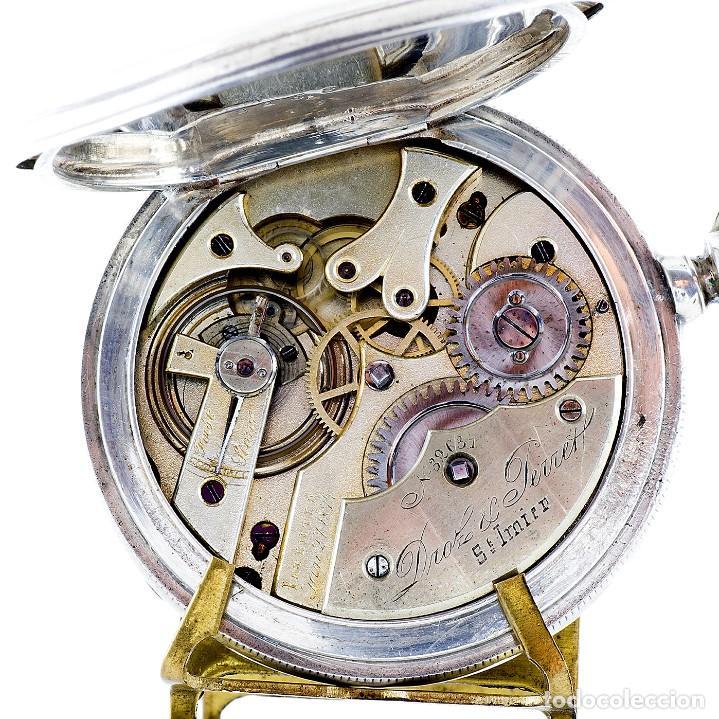 Relojes de bolsillo: DROZ & PERRET. Reloj de Bolsillo, saboneta y remontoir. St. Imier, Suiza, ca. 1880. - Foto 2 - 195357680