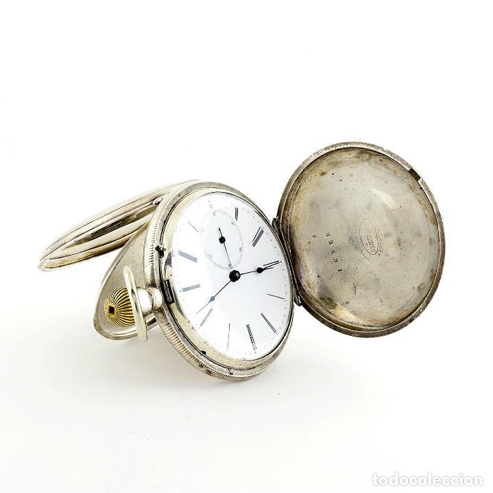 Relojes de bolsillo: DROZ & PERRET. Reloj de Bolsillo, saboneta y remontoir. St. Imier, Suiza, ca. 1880. - Foto 4 - 195357680