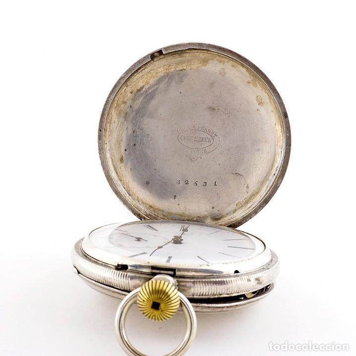 Relojes de bolsillo: DROZ & PERRET. Reloj de Bolsillo, saboneta y remontoir. St. Imier, Suiza, ca. 1880. - Foto 6 - 195357680