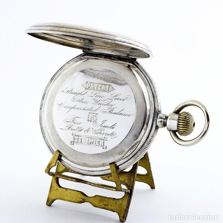 Relojes de bolsillo: DROZ & PERRET. Reloj de Bolsillo, saboneta y remontoir. St. Imier, Suiza, ca. 1880. - Foto 7 - 195357680