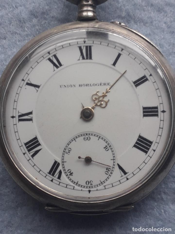 Relojes de bolsillo: Reloj de Bolsillo Antiguo Marca Union Horlogere, con Caja de plata - Foto 5 - 195378083