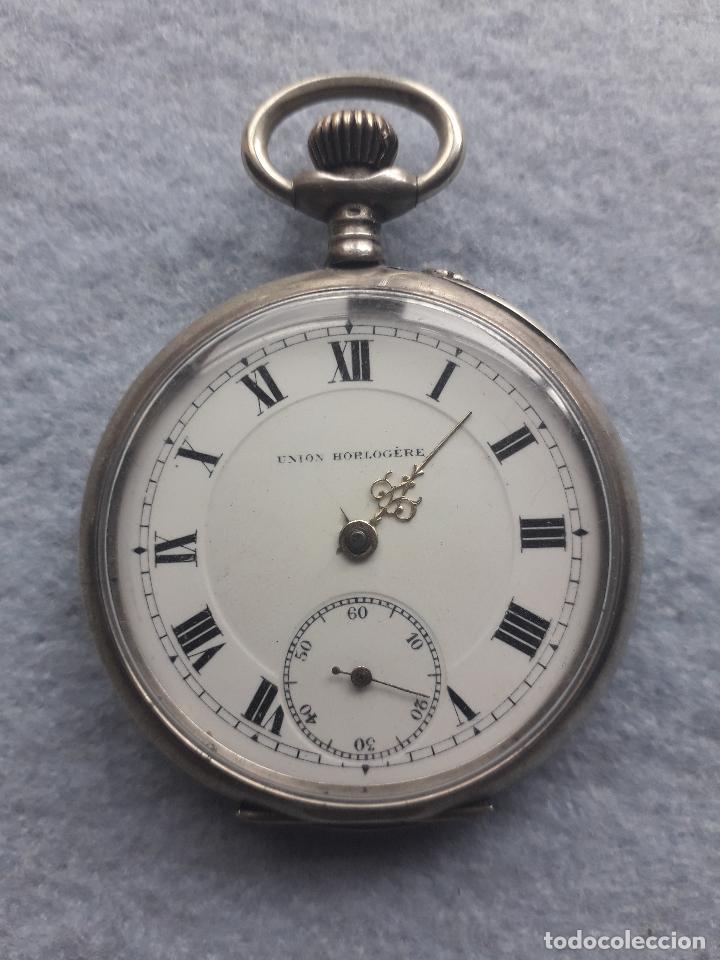 Relojes de bolsillo: Reloj de Bolsillo Antiguo Marca Union Horlogere, con Caja de plata - Foto 8 - 195378083