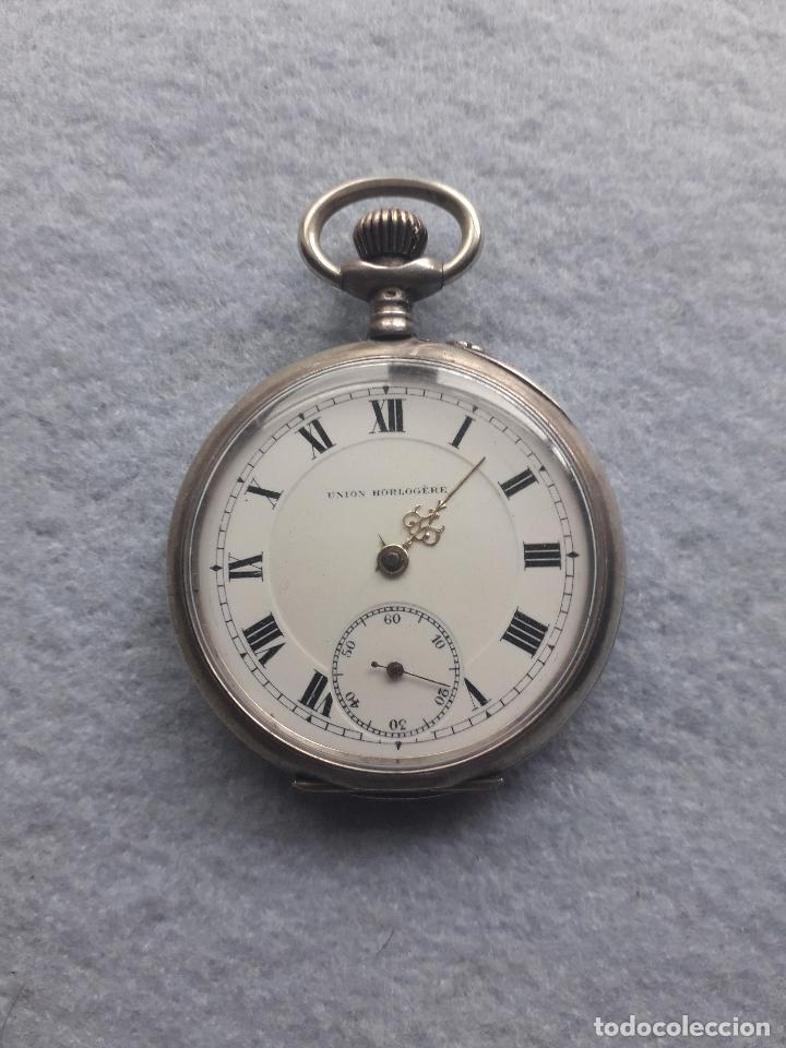 RELOJ DE BOLSILLO ANTIGUO MARCA UNION HORLOGERE, CON CAJA DE PLATA (Relojes - Bolsillo Carga Manual)