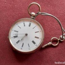 Relojes de bolsillo: RELOJ DE PLATA A LLAVE. EN FUNCIONAMIENTO. Lote 195479541