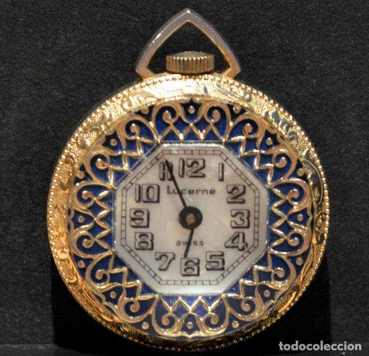 Relojes de bolsillo: RELOJ SUIZO DE BOLSILLO O COLGANTE CARGA MANUAL MARCA LUCERNE SWISS MADE - Foto 11 - 195658645