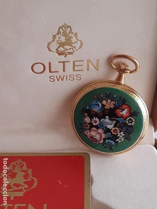 RELOJ BOLSILLO SUIZO - MARCA OLTEN - BAÑADO EN ORO (Relojes - Bolsillo Carga Manual)
