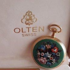 Relojes de bolsillo: RELOJ BOLSILLO SUIZO - MARCA OLTEN - BAÑADO EN ORO. Lote 195744823