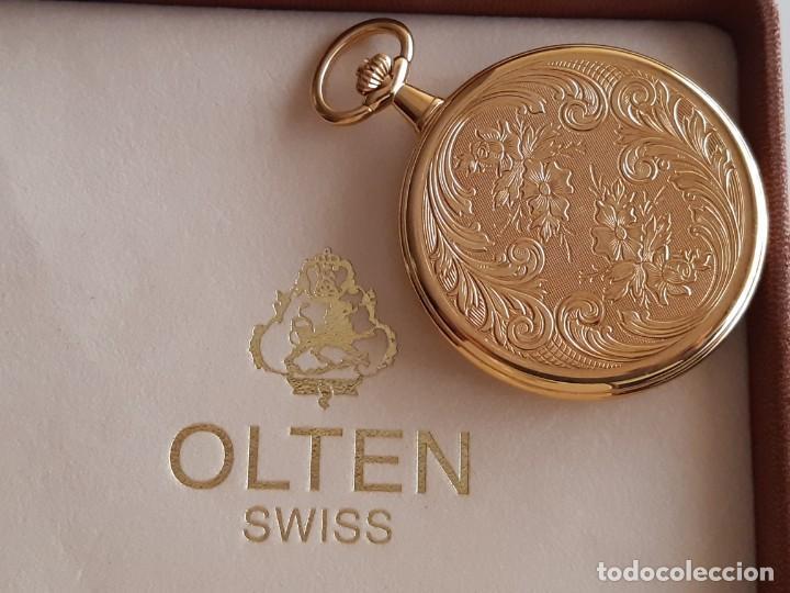 Relojes de bolsillo: Reloj Bolsillo Suizo - Marca Olten - Bañado en oro - Foto 3 - 195744823