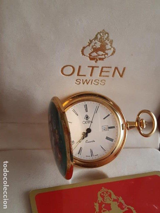 Relojes de bolsillo: Reloj Bolsillo Suizo - Marca Olten - Bañado en oro - Foto 5 - 195744823