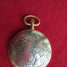 Relojes de bolsillo: RELOJ DE BOLSILLO SUPERWATCH CHAPADO EN ORO CON TAPA PLATEADA CON BONITA ESCENA, DE QUARTZ -. Lote 195814115