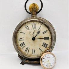 Relojes de bolsillo: MUY RARO-MUY GRANDE (14CM.DIAMETRO) Y ANTIGUO RELOJ DESPERTADOR-BOLSILLO-CIRCA 1900-FUNCIONANDO. Lote 196001576